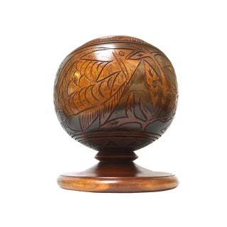 Large Hand Carved Fish Flower Pattern Wooden Footed Pedestal Bowl Wood Turned Bowl For Sale