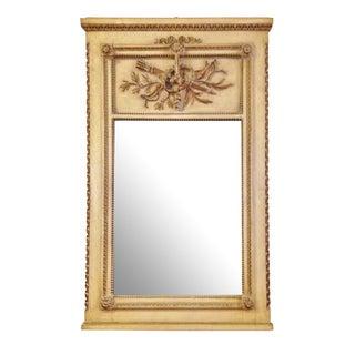 Vintage LXVI Style Painted Trumeau Mirror For Sale