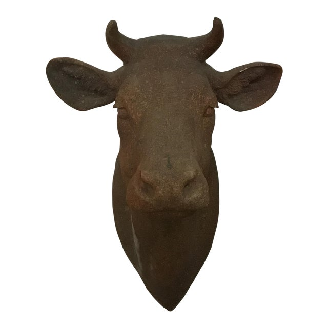 1970s Folk Art Terra Cotta Cow Head For Sale