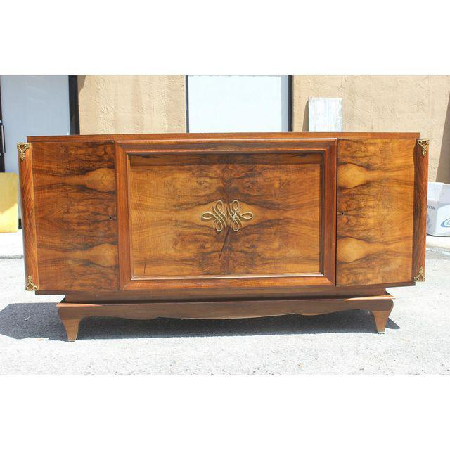Bronze French Art Deco Exotic Walnut Sideboard / Buffet Circa 1940s. For Sale - Image 7 of 10