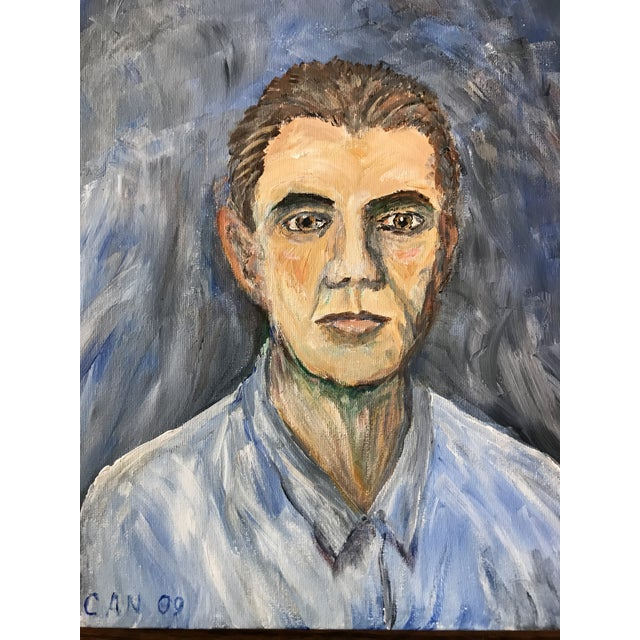 Portrait of a man done in Expressionist style. Done in Shades of blue. Signed CAN 09.