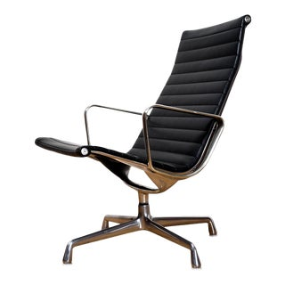 Classic Aluminum Group Arm Chair by Charles and Ray Eames for Herman Miller in Black For Sale