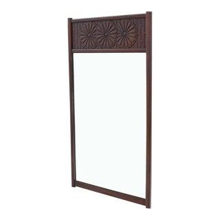 Vintage Mid Century John Widdicomb Carved Walnut Daisy Pattern Wall Mirror For Sale