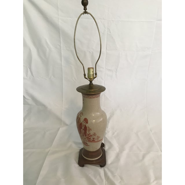 1960s Asian Chinoiserie Hand Painted Ginger Jar Lamp For Sale - Image 5 of 7