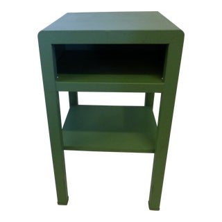 1930s Industrial Norman Bel Geddes Bedside Enameled Metal Simmons Nightstand For Sale