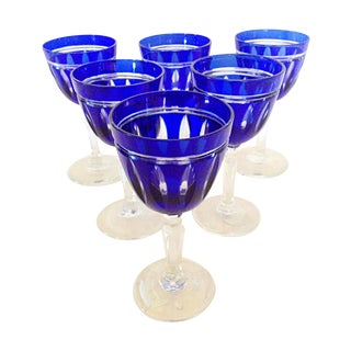 Cobalt Blue Cut Crystal Cordials - Set of 6