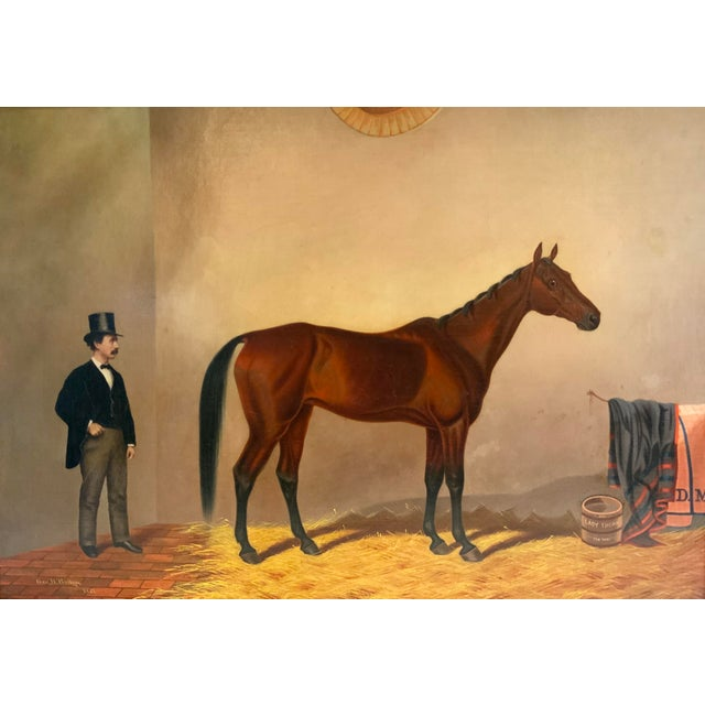 The muscular lines and tremendous spirit of this thoroughbred are skillfully captured in this 19th Century painting. A...