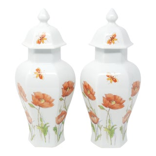 Vintage Orange Ice Poppy Temple Jars by Mottahedeh - a Pair For Sale