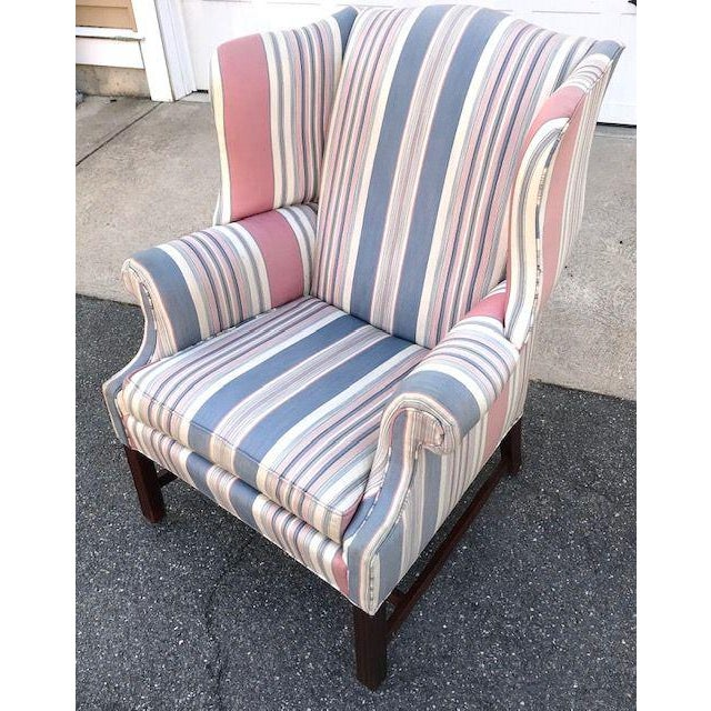 Late 20th Century Chippendale Style Wing Chair For Sale - Image 4 of 6