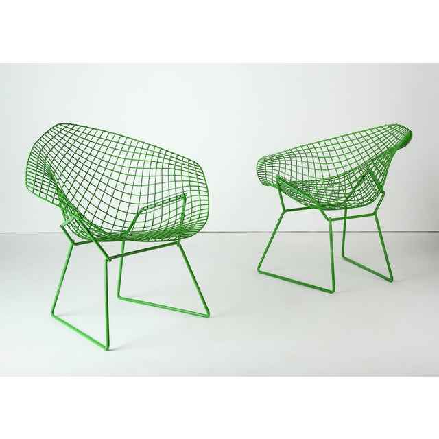 Harry Bertoia for Knoll Powder Coated Green Diamond Chairs - a Pair For Sale In Detroit - Image 6 of 6