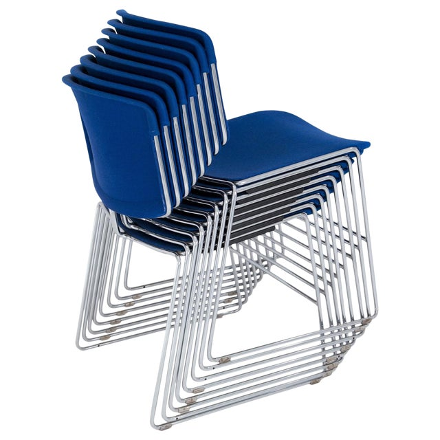 steelcase max stacker chairs set of 8 chairish