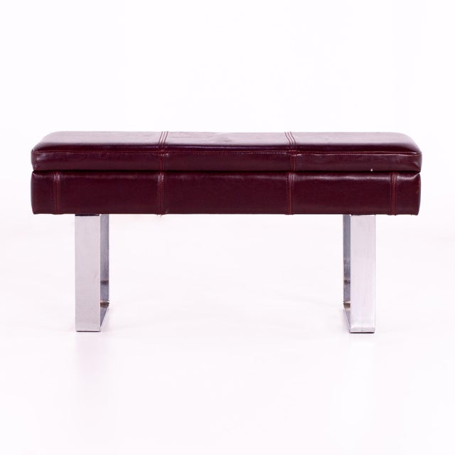 Mid Century Milo Baughman Style Maroon Leather Bench 36.5 wide x 12.5 deep x 18.25 high Great vintage condition If this is...