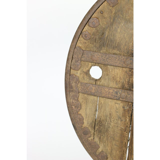 Oak And Iron Wheel, Circa 1700 On Later Iron Stand For Sale In San Francisco - Image 6 of 10