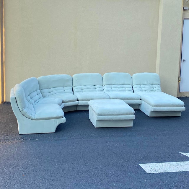 Mint green Vladimir Kagan for Preview 7 piece modular sectional that includes one chair, an ottoman, 3 square pieces and 2...