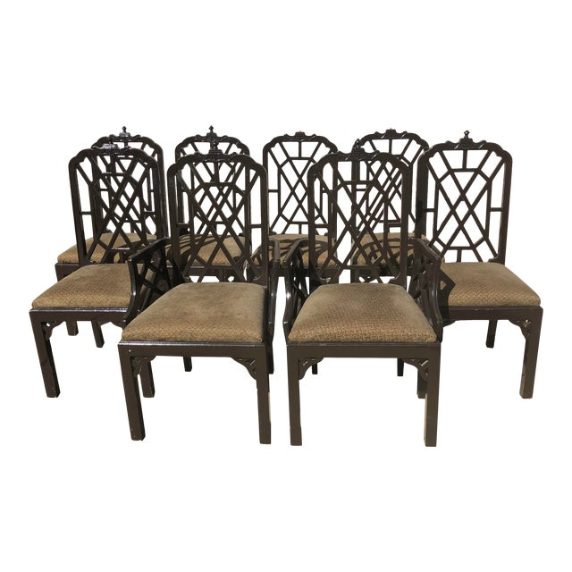 Late 20th Century Chinese Chippendale Dining Chairs by Century Furniture- Set of 8 For Sale