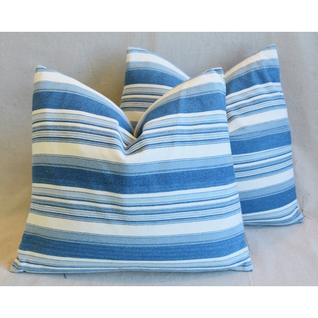 """Cotton French Blue & White Nautical Stripe Feather/Down Pillows 20"""" X 18"""" - Pair For Sale - Image 7 of 13"""