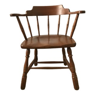 Temple Stuart Mid 20th Century Vintage Solid Hard Rock Maple Colonial Dining Arm Chair For Sale