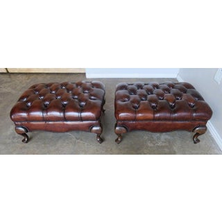 Pair of English Queen Anne Style Leather Tufted Benches Preview
