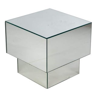 1970s Modern Mirrored Cube Side Table For Sale