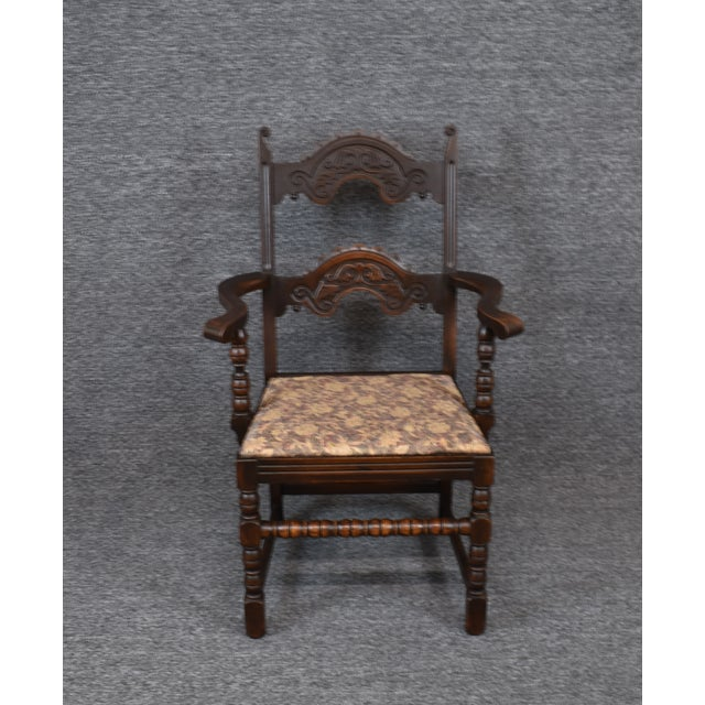 Wood Vintage Solid Carved Dark Oak Jacobean Chairs- Set of 6 For Sale - Image 7 of 11