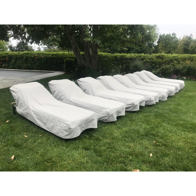 McGuire Antalya chaise lounges in very good condition. Cushions made with Perennials fabric. Eight available, but we will...