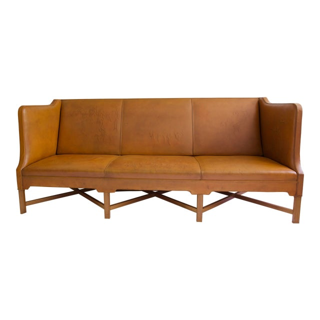 Kaare Klint Model 4118 Leather and Legs of Mahogany Sofa For Sale
