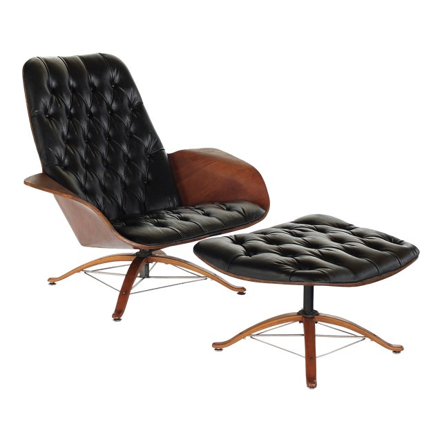 Mid Century Modern George Mulhauser for Plycraft Early Mr Chair Lounge Chair & Ottoman For Sale