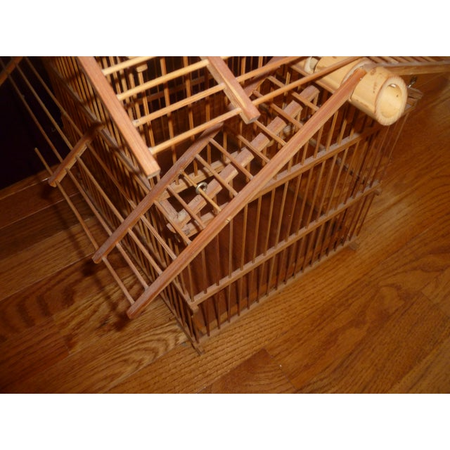 1970s Bamboo Wood Bird Cage For Sale - Image 5 of 8