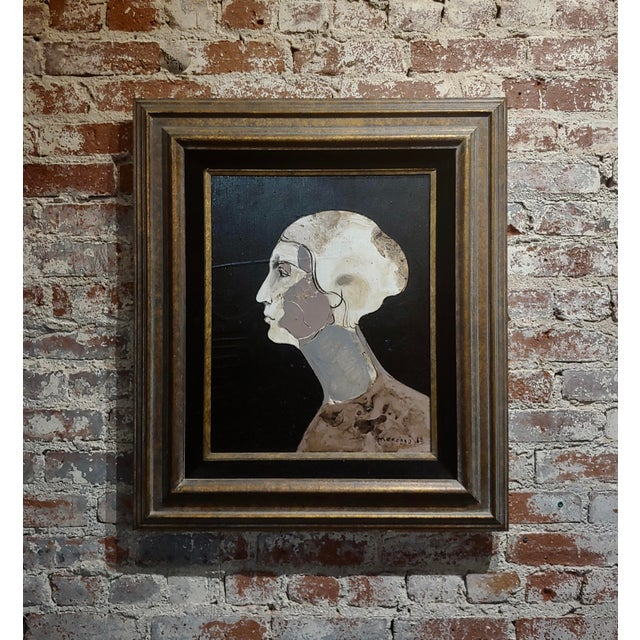 Brown Mercado -Surreal Portrait of a Woman -Oil Painting 1968 For Sale - Image 8 of 8