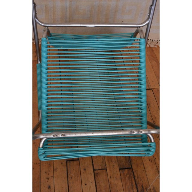 Patio Furniture by Surf Line, 2 Lounge Chairs, 1 Chaise in Stainless and Aqua For Sale - Image 11 of 13