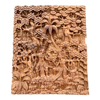 Asian Hand Carved Wall Art For Sale
