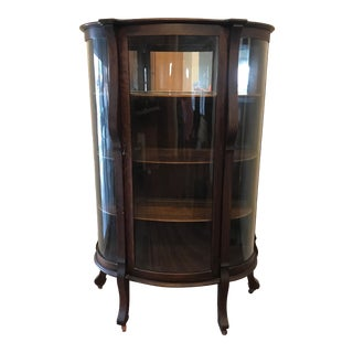 Antique Bow Glass China Cabinet For Sale