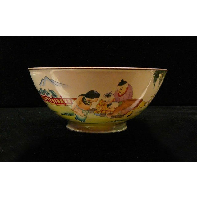 Asian Chinese Display Metal Bowl with Kids Playing Scene For Sale - Image 3 of 5