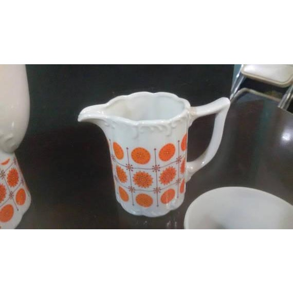 Vintage Mid-Century Japanese White & Orange Porcelain Tea Set - 9 Pc. - Image 4 of 8