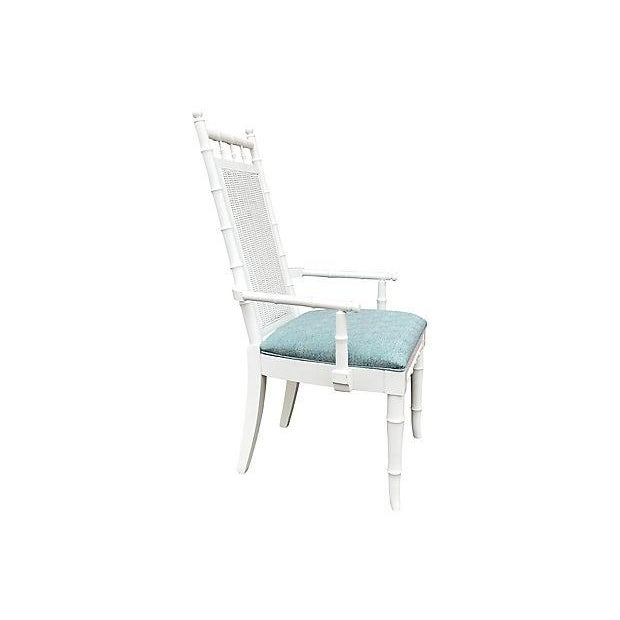White Lacquered Faux-Bamboo Wicker Back Vintage Dining Chairs - Set of 5 For Sale - Image 9 of 12