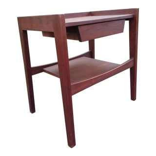 Jens Risom Danish Modern Walnut One Drawer Stand For Sale