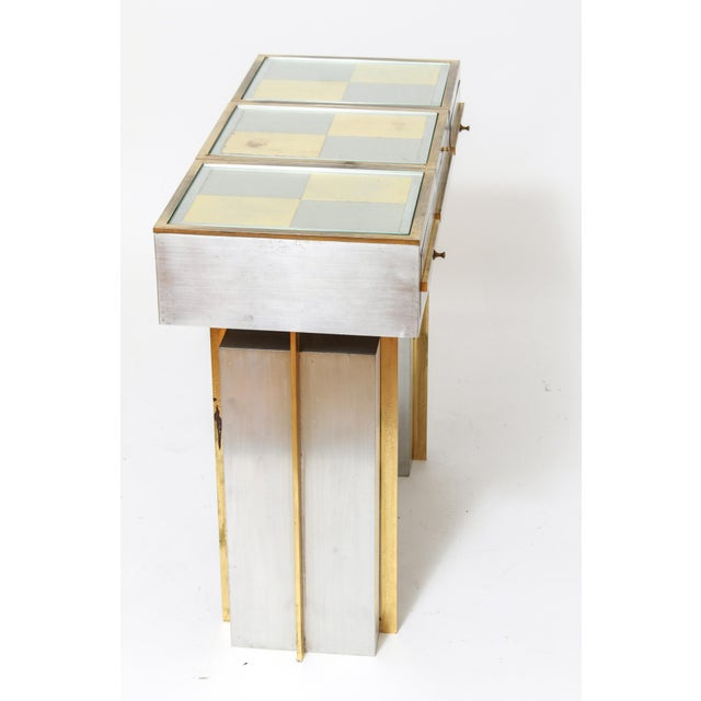 1970s Modern Steel Vanity Table and Stool In Style Of Maison Jansen - a Pair For Sale - Image 5 of 13