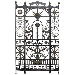 Wrought Iron and Brass Decorative Folding Screen Room Divider Gate For Sale