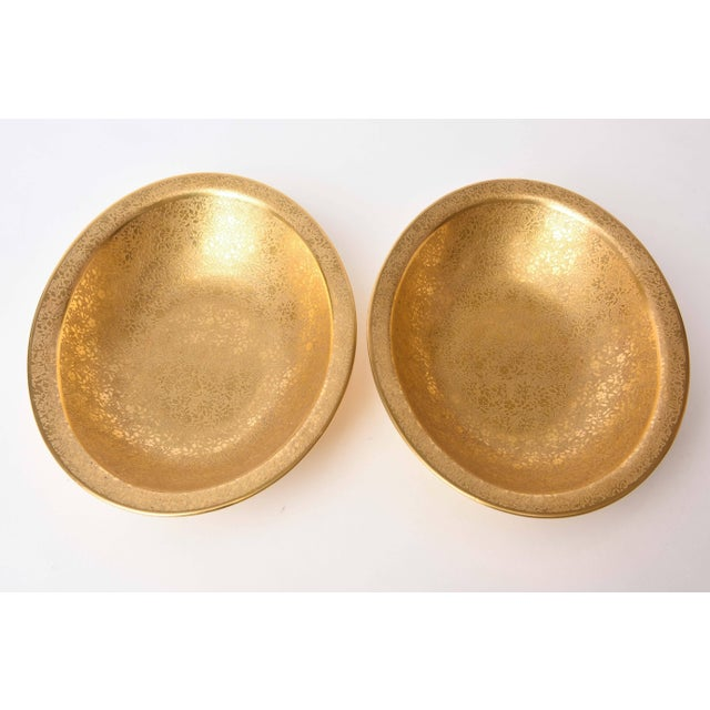 Metal Pair of Gold Decorated Serving Bowls For Sale - Image 7 of 11