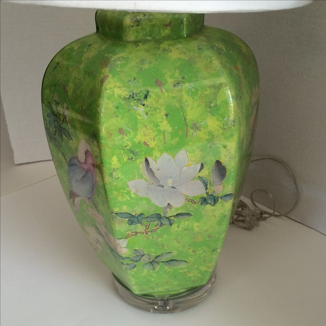 Traditional Reverse Painted Decoupage Lamp On Lucite Base For Sale - Image 3 of 9