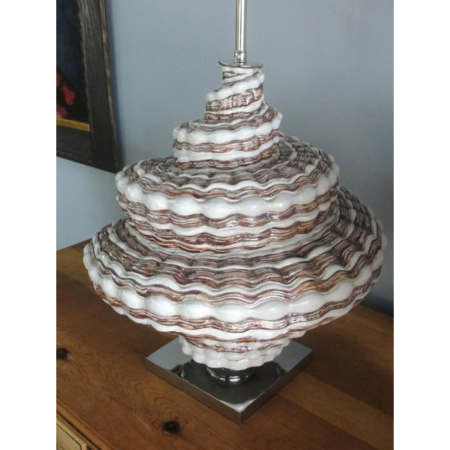1960s Oversized Snail Shell Ceramic Table Lamp For Sale - Image 5 of 8