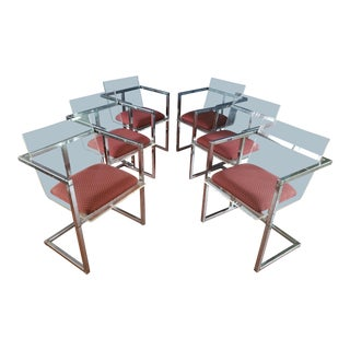 Charles Hollis Jones Style Lucite and Chrome Dining Chairs- Set of 6 For Sale