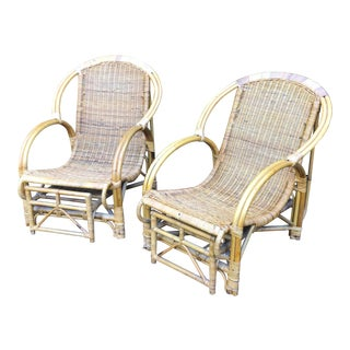 Vintage Rattan Chair With Retractable Ottoman - a Pair For Sale