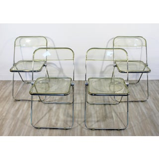 1960s Vintage Castelli Mid Century Modern Lucite Chrome Folding Side Chairs - Set of 4 Preview