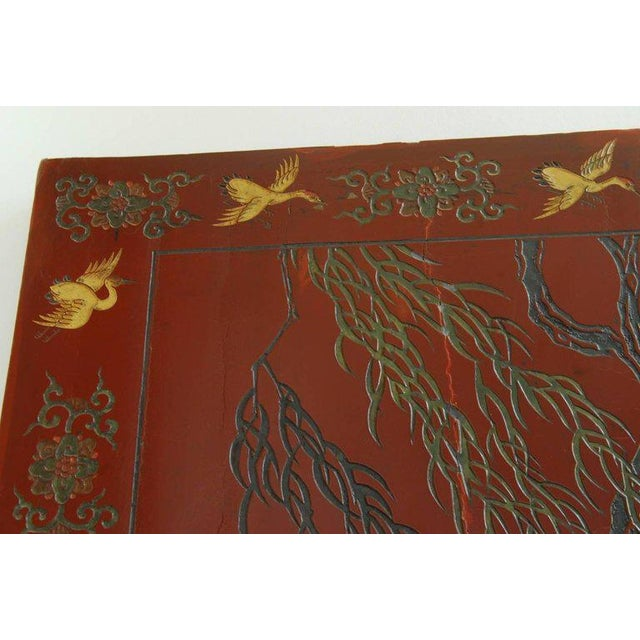 Brass Chinese Coromandel Style Two-Sided Lacquer Screen For Sale - Image 7 of 13