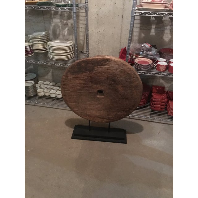 Antique Asian Mounted Wooden Wheel - Image 3 of 3