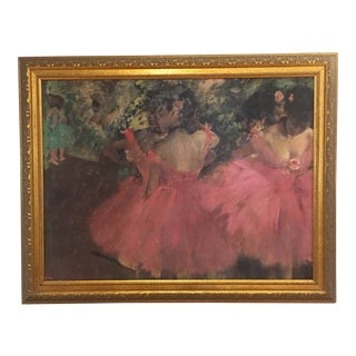 Antique Degas Ballerina Oil Painting With Large Gilded Frame For Sale