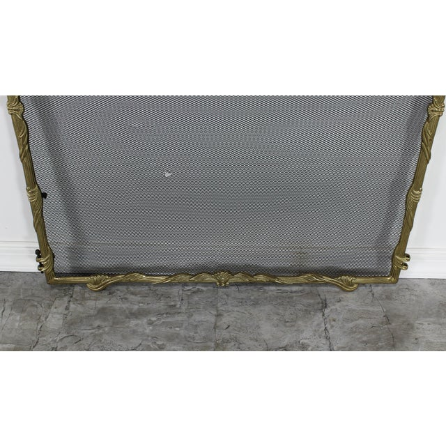 Hollywood Regency Vintage Solid Brass Fireplace Screen For Sale - Image 3 of 6