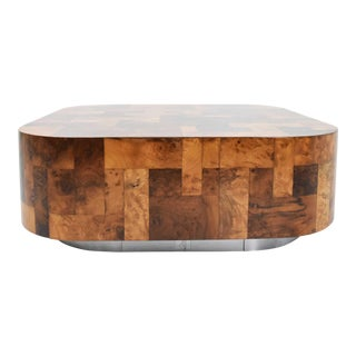 Paul Evans Signed Patchwork Cityscape Burl Wood Cocktail Table For Sale