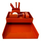 Image of Orange Lucite Complete Stackable Office Desk Accessory Set – Collection of 12 For Sale
